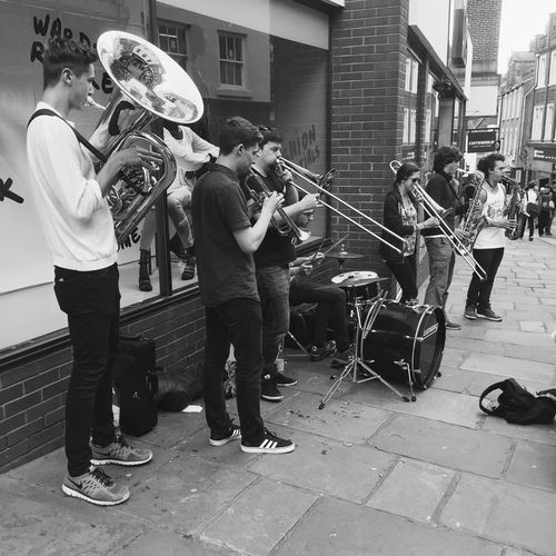 Musician Durham Brass Band Music Outside Photography Iphonephotography Black And White
