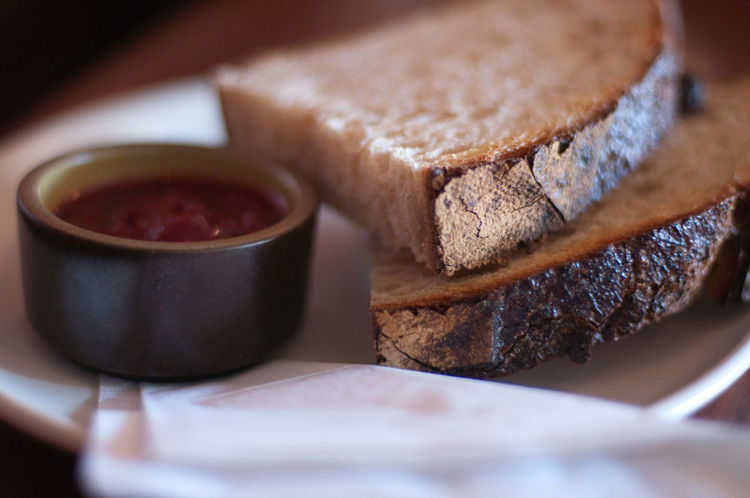 Bread & jam in San Francisco, CA. Bread Bread And Jam Breakfast Breakfast Close-up Day Drink Food Food And Drink Freshness Healthy Eating Indoors  Jam No People Ready-to-eat Selective Focus Sweet Food