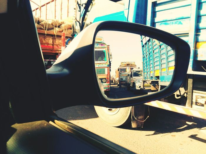 View of train on road