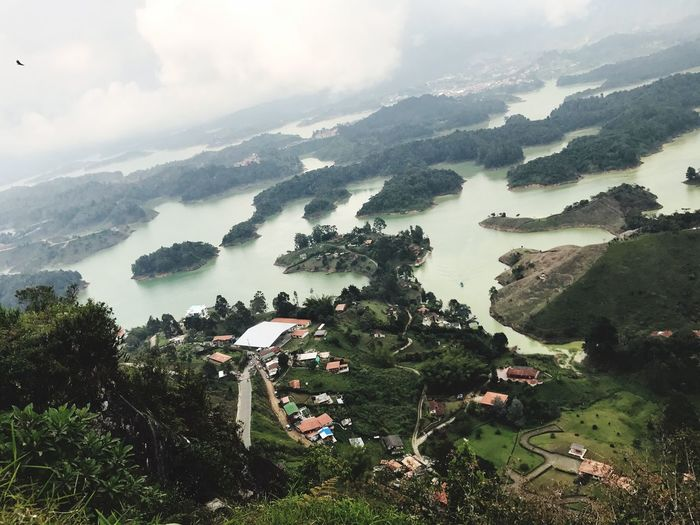 Guatape ,Colombia Tree Nature High Angle View Tranquil Scene Landscape Mountain Sky