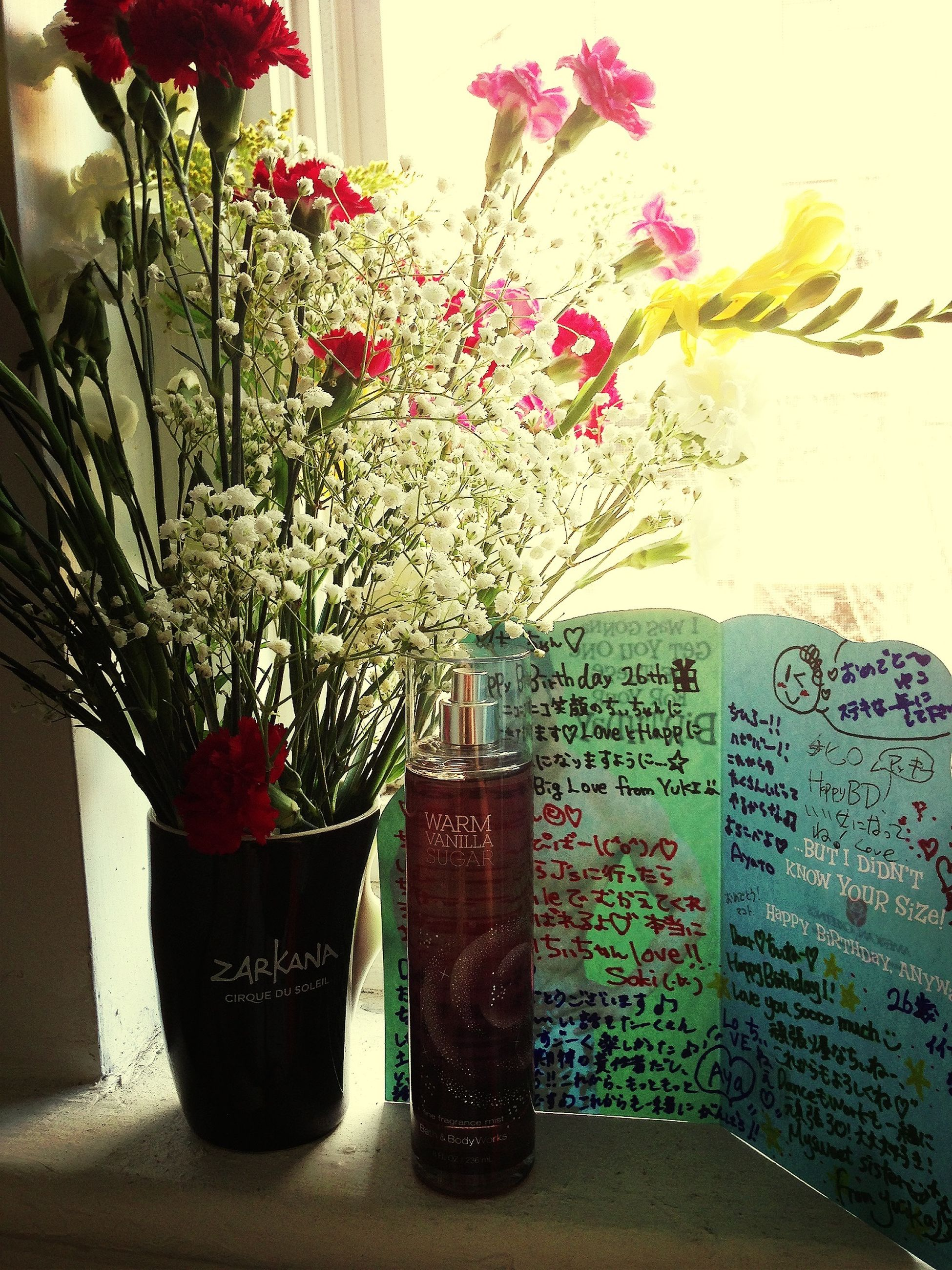flower, vase, table, indoors, potted plant, freshness, glass - material, flower pot, fragility, growth, plant, decoration, pink color, window, still life, home interior, close-up, window sill, transparent, leaf