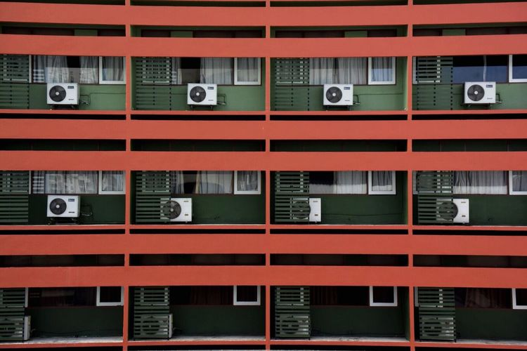 Picturing Individuality Red Tower Blackground Apartment Buildings Apartmentliving Ventilator Infront Of The House