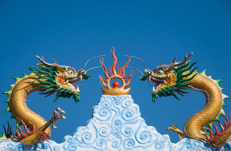 Chinese Dragon Statues Against Clear Blue Sky