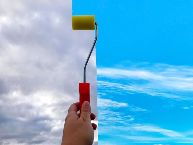 Roller Brush Brush EyeEm Best Shots EyeEmNewHere Art ArtWork Painter Painting Paint Environment Psycho Psychological Psychology Optimism Optimistic Conceptual Concept Lifestyles Human Hand Cloud - Sky Human Body Part Holding Sky One Person Real People Human Finger Blue Adult People