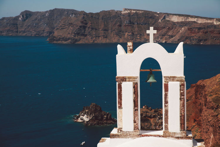 Chapel against sea at santorini