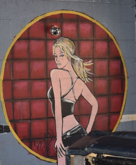 Abandoned Places Abandoned Buildings Abandoned & Derelict Abandoned Blond Hair Young Women Portrait Standing Red City Females Beautiful Woman Door Female Likeness Brick Wall Street Art Graffiti Mural Spray Paint