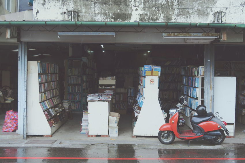 City Day Built Structure Mode Of Transport Transportation Land Vehicle Motorcycles Scooter Red Books Old Bookstore Second Hand Bookstore Book Shop Autumn Afternoon Read Relaxing Reading