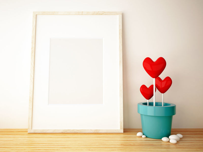 Abstract Concept Conceptual Day Flower Fragility Freshness Heart Shape Idea Indoors  Love Memory No People Object Picture Frame Pot Potted Plant Product Red Shape Style Table Valentine's Day  Wood - Material