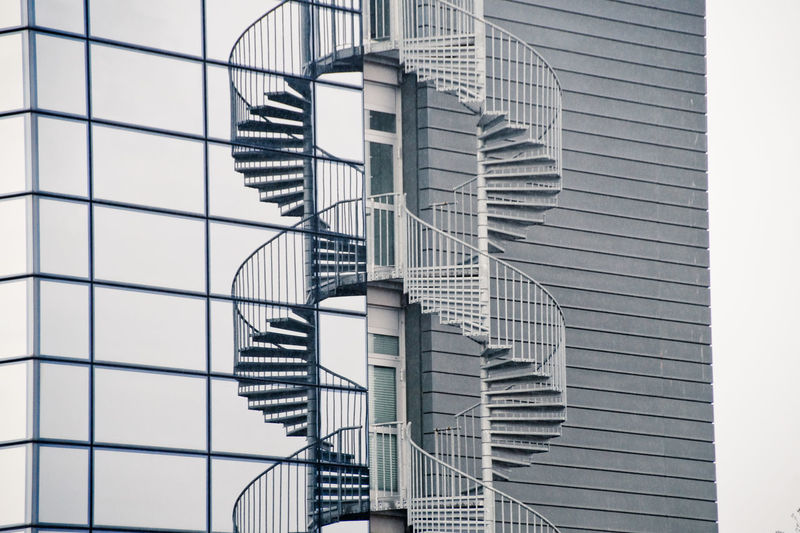 Low angle view of spiral staircase