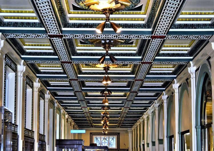 Soldiers and Sailors Museum ~ Oakland, PA Ceiling Ceiling Lights Lights Molding Oakland Pittsburgh Architecture Architecture And Art Archways Building Ceiling Ceiling Art Decoration Design Electric Lamp Illuminated In A Row Indoors  Light Low Angle View No People Ornate Pattern Soldiers And Sailors Museum