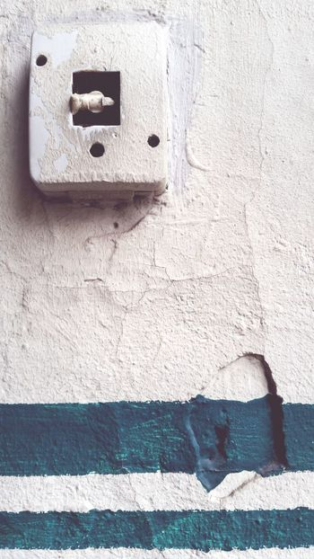 """""""Old light switch"""" Architecture Built Structure Close-up Light Switch Cracked Wall Crackle Dark Green Stripes Old Wall Omegatainment Outdoors Herne  Courtyard Entrance"""