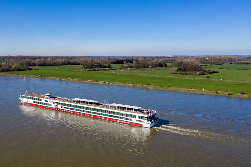 impressions from rural area, first spring days Day Nature Outdoors Dronephotography Aerial View Green Color Water Boats Rhine River River Tranquil Scene Nautical Vessel Scenics - Nature Sky Passenger Craft
