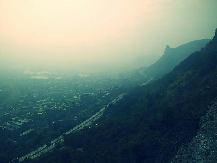 Misty Mornigs ~New Year 1st daylight atop a mountains of Mumbra Mumbai_in_clicks Cellphone Photography Mountain View Misty Morning Nostalgicmoments Feeling Really Good Today :)