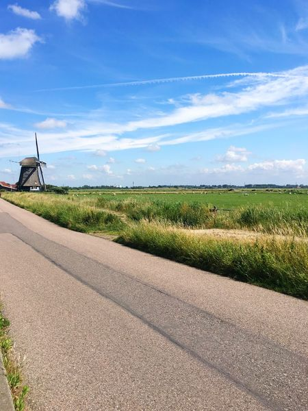 Dutch windmill Windmill Sky Field Nature Land Landscape Road Sunlight Agriculture Environment