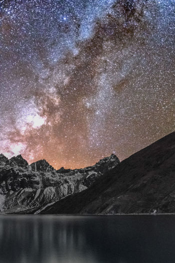 Three years are passed... I still have not been able to see so many stars like that magic night Adventure Astronomy Beauty In Nature Constellation Dream Everest Everest Region Galaxy Gokyo Gokyo Lake Hiking Lake Milky Way Mountain Nature Nepal No People Outdoors Sky Star - Space Tranquil Scene Tranquility Travel Trekking