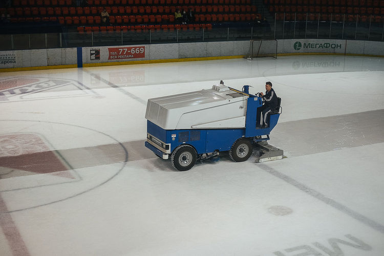 Filling Machine Ice Ice Harvester Men At Work  Hockey Hockeylife Ice Field Indoors  Men