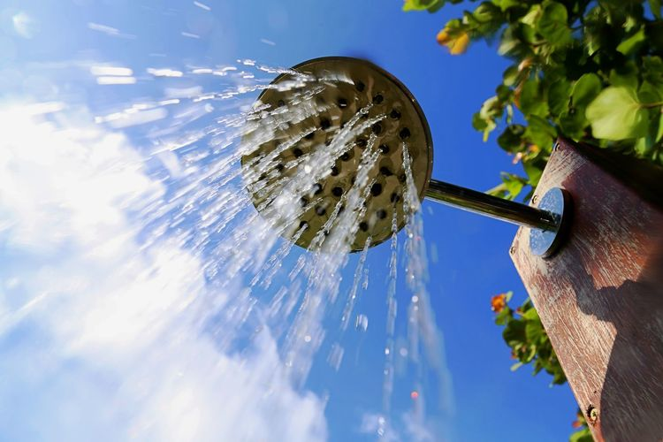 Low Angle View Of Outdoors Shower