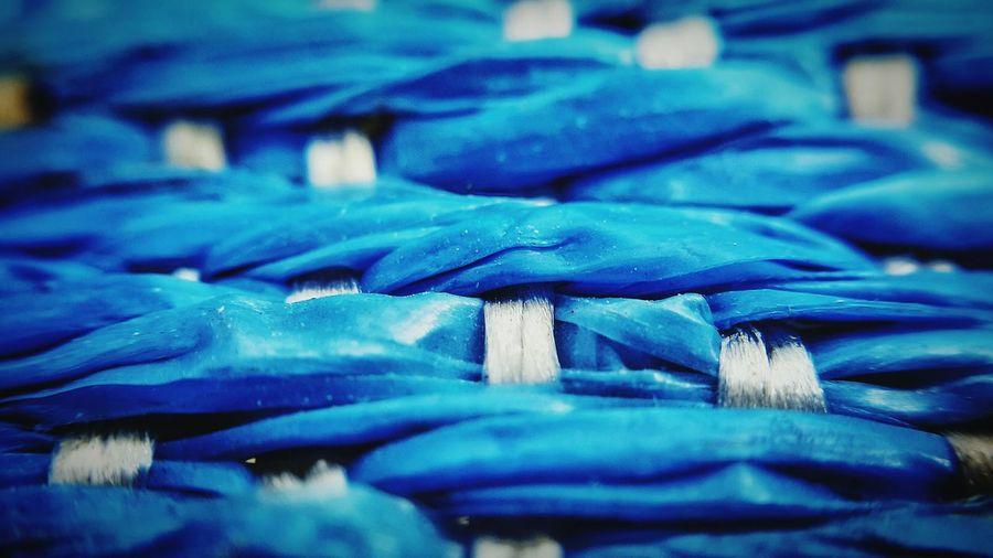 Full Frame Shot Of Blue Woven Plastic