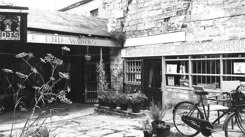 Monochrome Blackandwhite Plants Shops Cafe Countryside Bike Architecture Quaint  Signposts