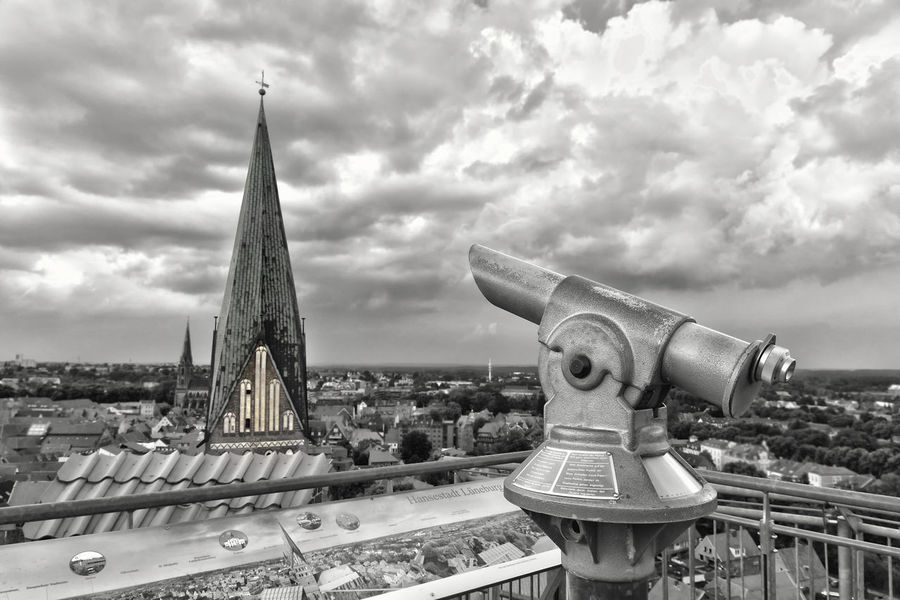 St. Johanniskirche in Lüneburg Architecture Black & White Black And White Black And White Photography Blackandwhite Blackandwhite Photography Bw BW Collection Bw_collection Church Cloud - Sky Cultures Day Germany Lower Saxony Lueneburg Lüneburg Monochrome No People Outdoors Sky Spy-glass St. Johanniskirche Telescope Tower