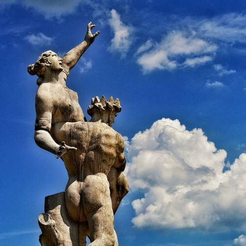 Older Couple Trying to Pick some Clouds 😉 in Salzburg Salzburg, Austria Austria ❤ Österreich Blue Sky Sky Sky And Clouds Statues Greek Mythology Lookingup Showcase: February