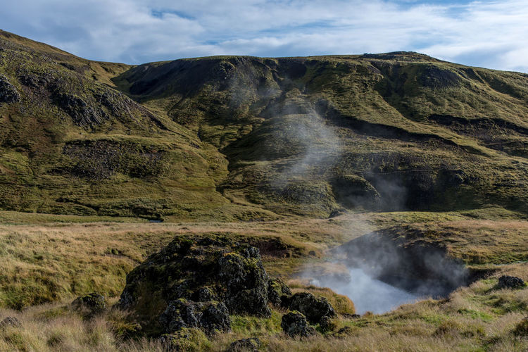 Steam Emitting From Mountain