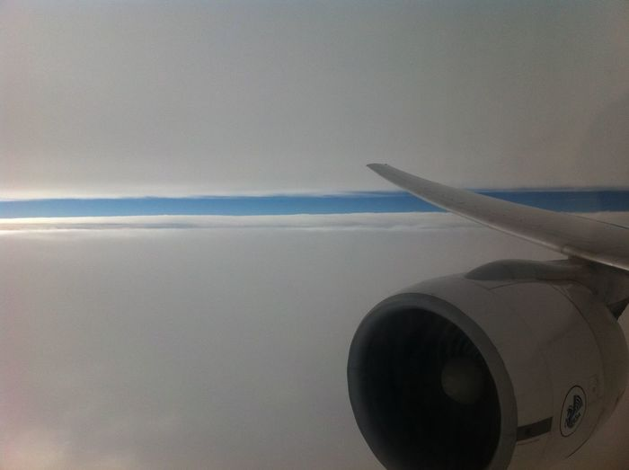 Airplane Air Vehicle Sky Transportation Aircraft Wing Flying Mode Of Transportation Cloud - Sky Mid-air Nature Travel Scenics - Nature Beauty In Nature Jet Engine Sea Motion Day No People on the move Engine Outdoors Plane
