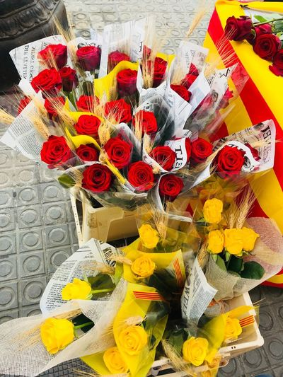 St. Jordi Red Yellow Catalonia Catalunya Catalan St. Jordi Jordi Barcelona, Spain Barcelona Flower Flowering Plant Plant High Angle View Fragility Vulnerability  No People Flower Arrangement Flower Head Beauty In Nature Freshness Bouquet Multi Colored Yellow Inflorescence Pattern Close-up