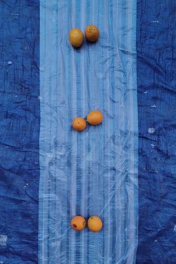 High angle view of orange fruits on wood