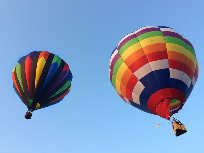 ✨♨️💨🎈Duo ♨️💨🎈✨ Tadaa Community Multi Colored Flying Mid-air Hot Air Balloon Low Angle View Adventure Clear Sky Outdoors Day Fun Transportation Ballooning Festival Sky Parachute No People Extreme Sports IPhoneography Leisure Activity