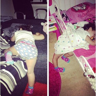 Yesterday I found her like this. (Left picture) This morning when I got up I found her like that in her bed... :P Baby Ayla  Funny Friday sleep