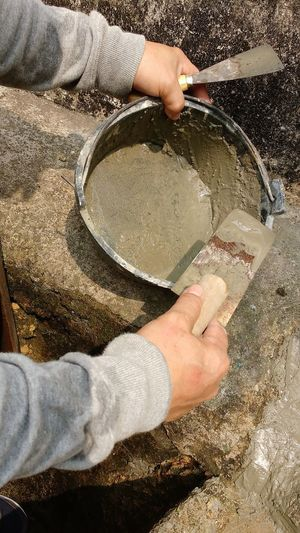 At Work Bucket Builder Building Repairs Cement Hands Outdoors Person Tools Trowel Worker