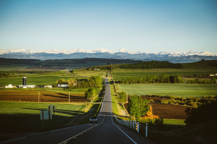 Road to the rockies outside Calgary, Canada Foothills Beauty In Nature Canada Clear Sky Day Field Grass Landscape Mountain Mountain Range Nature No People Outdoors Road Rocky Mountains Rural Scene Scenics Sky The Way Forward Tranquil Scene Tranquility Travel Destinations Tree