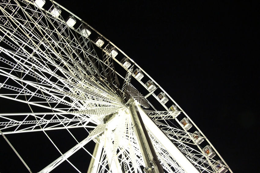 """""""Moon Wheel"""" Amusement Park Amusement Park Ride Architecture Arts Culture And Entertainment Blackandwhite Built Structure Cities At Night City City Life EyeEm Best Shots Ferris Wheel Illuminated Light And Shadow Light In The Darkness Low Angle View Night No People Outdoors Sky Tourism Travel Destinations Fine Art Photography Showcase July"""