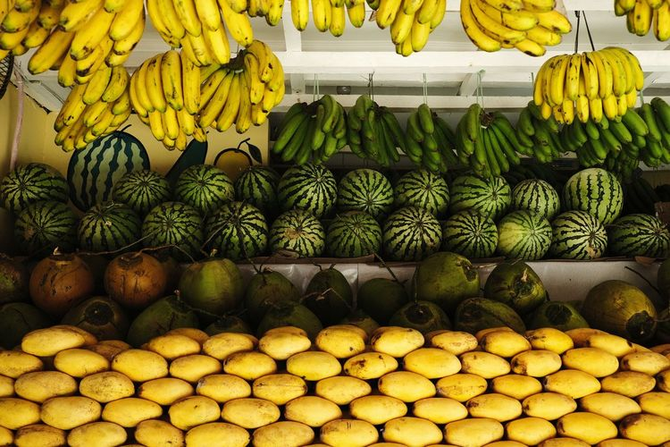 Watermelon Fruit Fruit Market Fruits Mangoes Banana Coconut Yellow Market Close-up Food And Drink Stall For Sale Display Market Stall Farmer Market Retail Display Street Market Various Large Group Of Objects