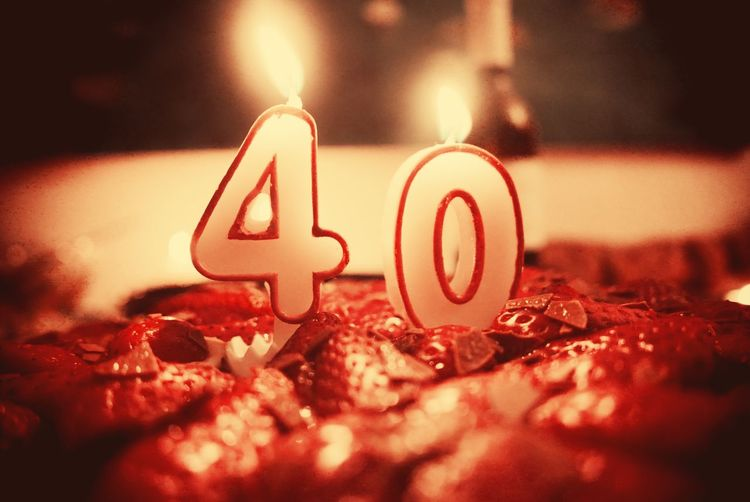 40 birthday cake Birthday Birthday Cake 40 Candle Candles Candlelight Birthdaycake Geburtstag Strawberry Strawberry Cake Cake Food Cakes Anniversary