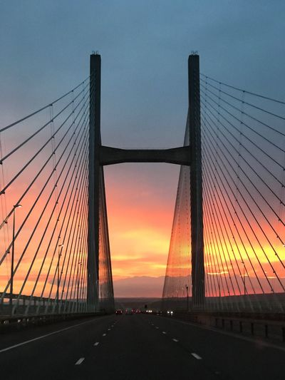 Severn Bridge South Wales Uk Sunset Silhouettes Sunset Sky Connection Bridge Orange Color Bridge - Man Made Structure Transportation Suspension Bridge Built Structure Architecture Dusk Silhouette