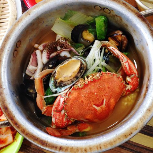 Directly above shot of seafood in bowl on table