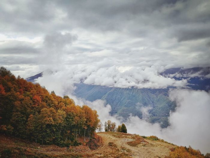 Scenic view of landscape against sky during autumn