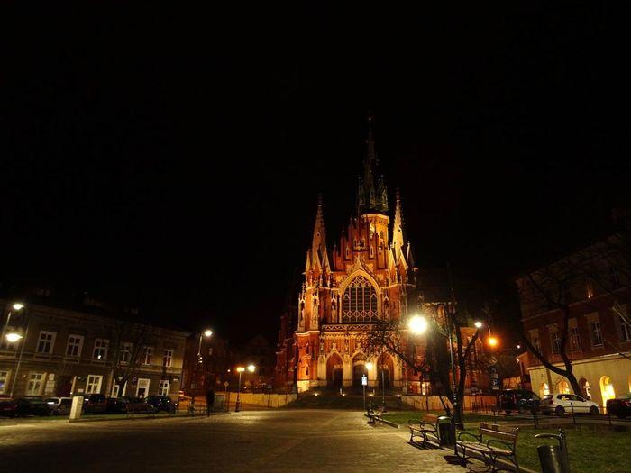 Kościół Rzymskokatolicki Pw. św. Józefa Kraków, Poland Parish Of St. Joseph Architecture Building Exterior City Illuminated Night Place Of Worship Religion Street Light first eyeem photo