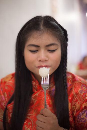 Close-Up Woman Having Food