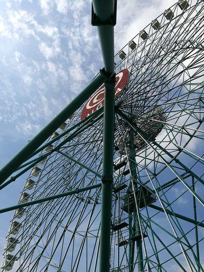 Low Angle View Sky Day Cloud - Sky No People Outdoors Mirabilandia🎡🎢🎠 Travel Destinations Amusement Park Panoramic Wheel Close-up Metal Steel