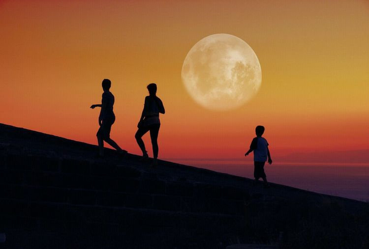 Silhouette Sunset Moon Men Tranquil Scene Tranquility Standing Full Length Outline Beauty In Nature Scenics Circle Clear Sky Nature Full Moon Majestic Carefree Sky Outdoors Exploration Magic Fantasy Edit