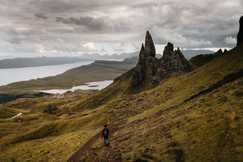 Adult Adults Only Cloud - Sky Day Landscape Mountain Nature Old Man Of Storr One Man Only One Person Outdoors People Schottland Scotland Sky