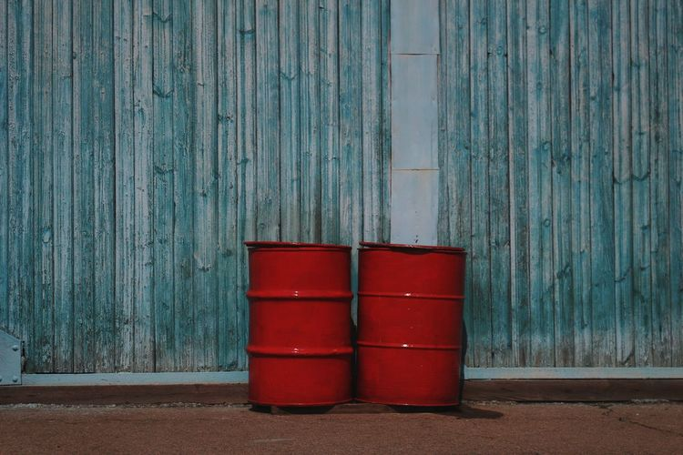 Barrel Barrels Cask Red Red Color Red Objects Two Two Objects Two Of A Kind Red Wood - Material Wall - Building Feature Architecture Built Structure Close-up Building Exterior Closed Wooden Textured  Rugged Rough Peeling Off
