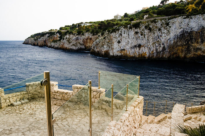 Beach Beauty In Nature Beauty In Nature Castromarina Clear Sky Day Horizon Over Water Italy Lecce Nature No People Outdoors Puglia Railing Rock - Object Salento Scenics Sea Sky Tranquil Scene Tranquility Travel Destinations Water