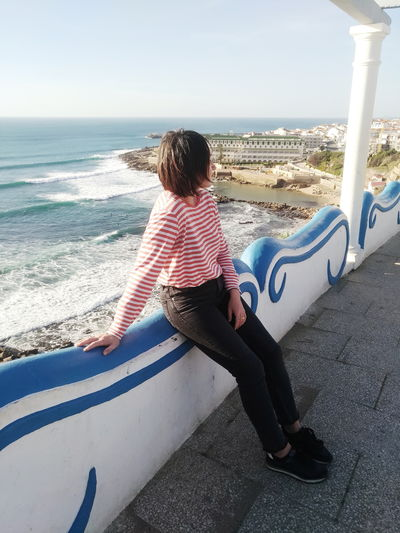 Ocean Ocean View Oceanside Romantic Girl Vacations Striped Water Wave Sea Full Length Beach Sitting Young Women Women Sand Relaxation Surf Surfer Coast Surfing Rocky Coastline Shore Beach Holiday