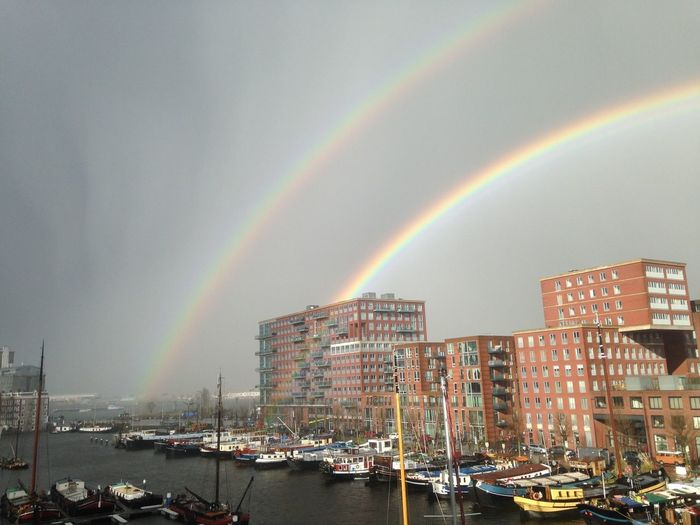 Westerdok Architecture Beauty In Nature Building Exterior Built Structure City Day Double Rainbow Moored Multi Colored Nature Nautical Vessel No People Outdoors Rainbow Scenics Sky Transportation Water Westerdokskade