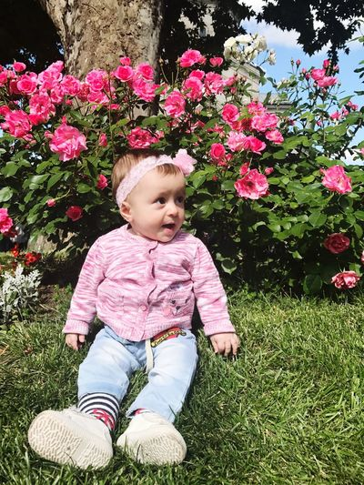 Little princess 👑 Baby Flower Cute Babies Only One Person Day Growth Sitting Smiling Grass Full Length Happiness Childhood Outdoors Nature People Fragility Cute♡ Baby Girl Colour Your Horizn