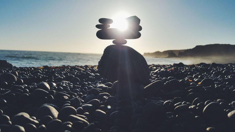 Rocks on pebble beach
